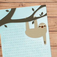 Slothy Sloth - A5 Stationery - 12, 24 or 48 sheets