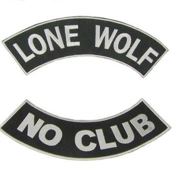 Lone Wolf No Club Rockers Patches Set For Jacket or Vest Biker motorcycle New