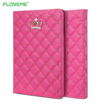 FLOVEME Book Cover For iPad Air Case Lovely Fashion Leather Cases For iPad Air 2 / iPad 5 6 Bling Crown Cute Stand Holder Tablet