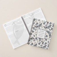 Watercolor Black Leaves Berries Monogram Recipe | Notebook