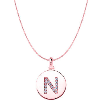 """N"" Diamond Initial 14K Rose Gold Disk Pendant (0.14ct)"