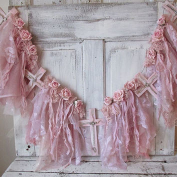 Pink tattered garland w/ crosses shabby cottage chic painted wooden crucifix wispy lace w/ rose banner ooak wall hanging anita spero design