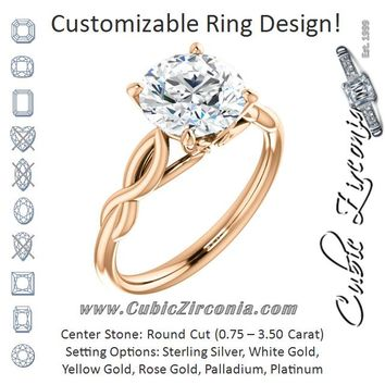 Cubic Zirconia Engagement Ring- The Diamond (Customizable Round Cut Solitaire with Braided Infinity-inspired Band and Fancy Basket)