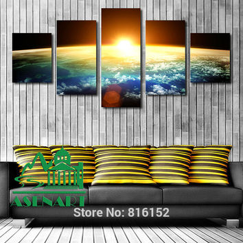 5 Piece Amazing Skyline Sunrise Painting Oil Canvas HD Print Picture Unframed Mural Art Modern Home Wall Decor