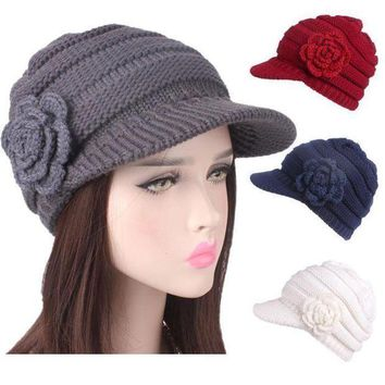 CREYON2D Women Ladies Winter Knitting Hat Berets Turban Brim Hat Cap Pile Cap