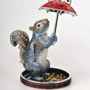 Squirrel with a Red Umbrella Faberge Styled Treasury Box Handmade by Keren Kopal Enamel Painted Decorated with Swarovski Crystals
