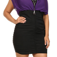 Chiffon Ruched Mini Dress - PURPLE - PLUS SIZE - 1X - 2X - 3X