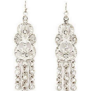 Sparkly Crystal Chandelier Bridal Earrings Silver Tone