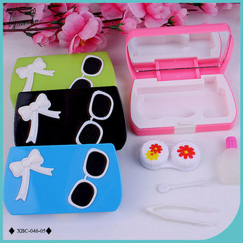 Lymouko Hot Sale Glasses Bowknot Portable with Mirror Contact Lenses Case for Women Gift Kit Contact Lens Box