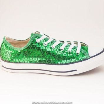 QIYIF kelly green sequin canvas converse canvas low top sneakers shoes