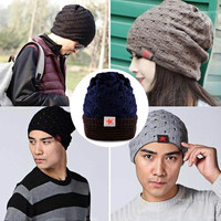 Fashion Unisex Winter Skull Knit Beanie Reversible Baggy Cap Warm Solid Hat = 1838541444