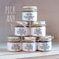 Pick Any 3 Lip Butter in a pot - FLAT RATE SHIPPING - Organic Cocoa Butter - Lip Balm - Vegan - Wedding Favor - Small Gift