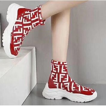 Fendi Woman Men Boots Fashion Breathable Sneakers Running Shoes-2
