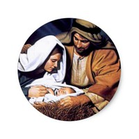 Nativity Scene Gifts for Christmas Classic Round Sticker
