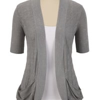 Slouch Pocket Open Front Cardigan