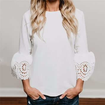 Hollow Out Long Sleeve Womens White Blouse Cotton Knitted 2018 Summer Tunic Tops Femme Ladies Elegant Office Shirts Blusas Mujer