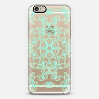 Soft Aqua Painted Floral Pattern on Crystal Transparent iPhone 6 case by Micklyn Le Feuvre | Casetify
