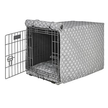 Micro Jacquard Luxury Dog Crate Cover — Mercury