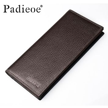 High quality men's Wallets First Class Genuine Leather Purse Long Leather Wallets Clutch