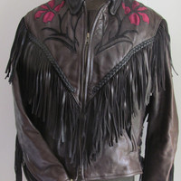 Black Leather Fringed Leather Jacket Rose Red Leather Inserts Black Braided Leather Woman Biker Jacket