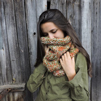 FREE SHIPPING Knit scarf Chunky knit cowl Neck warmer Hood Orange Infinity cowl Hand knit neck warmer Hooded scarf Tube cowl snood Green