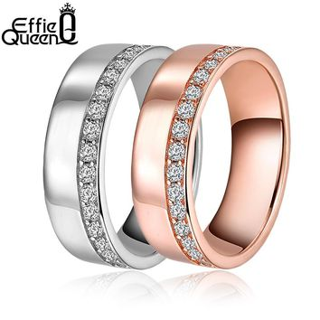 Effie Queen Women Wedding Band Eternity Rings Rose Gold-color Cubic Zircon Wedding Engagement Ring For Lover Jewelry DR147