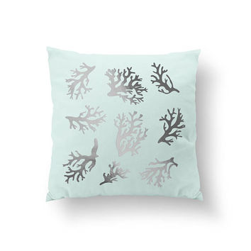 Little Corals Pillow, Decorative Pillow, Aqua Art, Beach Home Decor, Gold Pillow, Cushion Cover, Bed Pillow, Nautical Decor, Throw Pillow