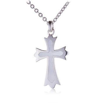 Sterling Silver Cross Pendant with Mother-of-pearl Inlay(Chain Sold Separately)