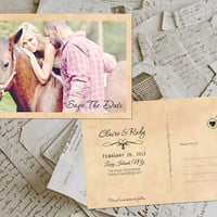 "Wedding Save The Date Card - FairVille Vintage Photo Personalized 4""x6"" - 50 Prints"