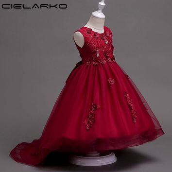 Cielarko Girls Wedding Dress Kids Mermaid Dresses Applique Flower Children Birthday Frocks Baby Party Costume for Girl
