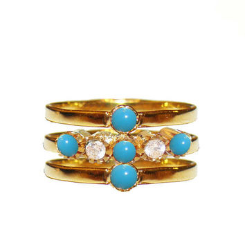 3 Diamond stacking rings,Turquoise diamond rings,Turquoise diamond set,18k diamond engagement ring,stackable Turquoise ring,18k solid gold