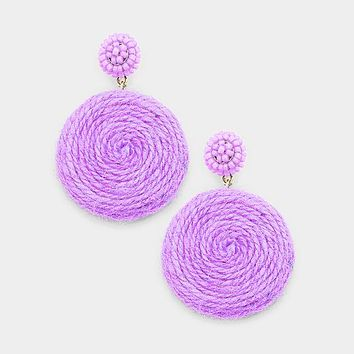 Beaded Dome Swirl Thread Disc Dangle Earrings