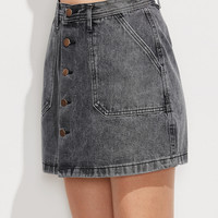 Grey Breasted Denim Skirt