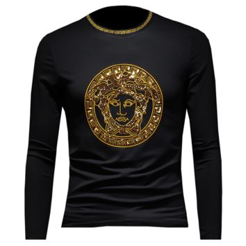 Versace New fashion embroidery diamond human head  leisure long sleeve top sweater men