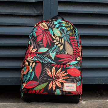 Floral Pattern School Backpack Laptop Bag