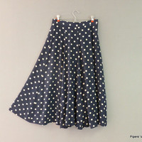 Navy Blue and White Polka Dots Circle Skirt Mid-Calf Summer Skirt 1980s High Waist Skirt
