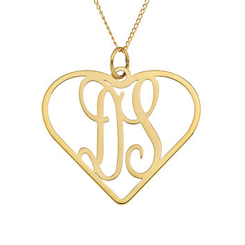 TWO LETTER HEART MONOGRAM NECKLACE - GOLD
