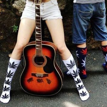 CREYUG3 New Plantlife Marijuana Weed Leaf Cotton High Socks Ankles Men & Women = 1929669636