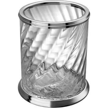 Spiral Clear Glass Round Open Top Wastebasket Trash Can Bath, Kitchen, Office