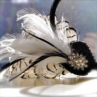 Lady Mia Art Deco Feather Fascinator Black and White by TutusChic