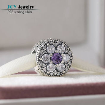 Fits Pandora Charms Bracelet Diy Purple Clear CZ Flower Beads Original 925-Sterling-Silver Forget Me Not Bead For Jewelry Making