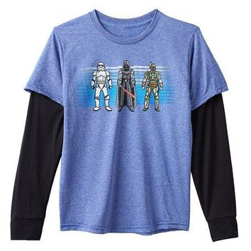 ESB7GX Star Wars Sway The Stars Tee - Boys 8-20 Size MEDIUM (Blue)