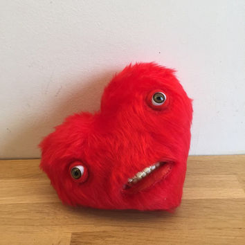 Mr Heart, with teeth / Teddy Bear with teeth - Decorative Doll - Handmade and OOAK /Ready to ship/ Quirky Uncanny Scary Creepy Cute