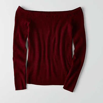 AEO Off-The-Shoulder Ribbed Sweater, Summer Burgundy