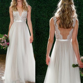 2018 new lace dress deep V backless sexy bridesmaid wedding dress
