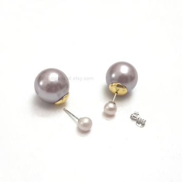 double sided pearl studs, freshwater pearl, double ball earrings, front back earrings, double pearl earrings, gold plated