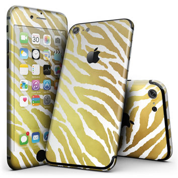 The Highlighted Golden Zebra Pattern - 4-Piece Skin Kit for the iPhone 7 or 7 Plus