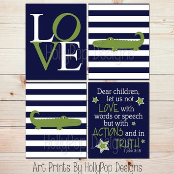 Alligator Nursery Prints Baby Boy Decor Boy Wall Art Navy Blue Green Alligator Wall Decor 1 John Dear Children Nursery Prayer Print #1282