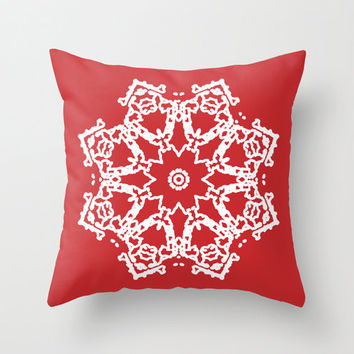 Snowflake Throw Pillow Cover - Red Holiday Decorative Pillow - Home Decor - By Aldari Home