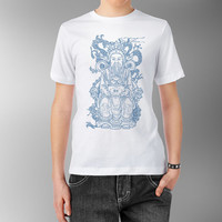 Confucius Japanese Enlightenment China Asian Traditional Fortune Wisdom Goddess Blue Printed White Fitted 100% cotton T shirt t-shirt tee